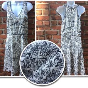 Ann Taylor Loft Black & white CAFE halter dress 10